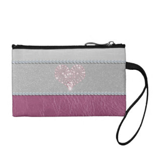 Bling Heart on Glitter white leather and pink Coin Purse