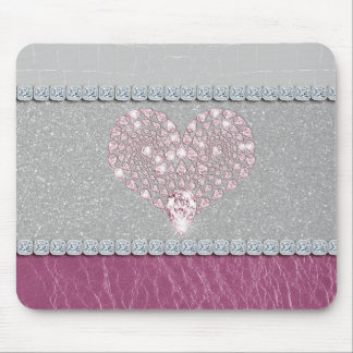 Bling Heart on Glitter white leather and pink Mouse Pad