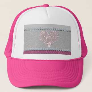 Bling Heart on Glitter white leather and pink Trucker Hat