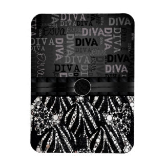 ️️Bling Zebra Diva Monogram Rectangular Photo Magnet