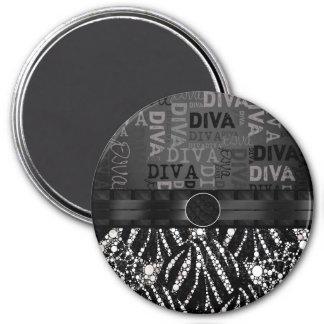 ️️Bling Zebra Diva Monogram 3 Inch Round Magnet