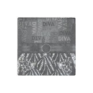 ️️Bling Zebra Diva Monogram Stone Magnet