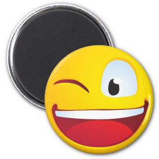 Blinking Smile 6 Cm Round Magnet