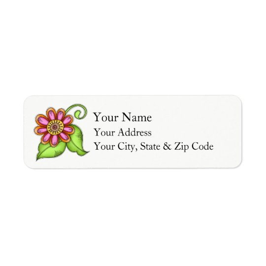 Bliss Watercolor Doodle Flower Address Label