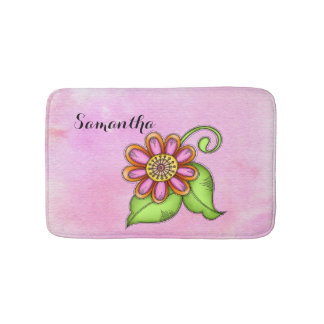 Bliss Watercolor Doodle Flower Bath Mat