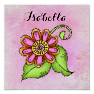 Bliss Watercolor Doodle Flower Poster