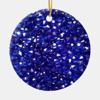 Blissful Blue Crystals Ceramic Circle Ornament
