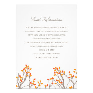 Blissful Branches Wedding Insert Personalized Invite
