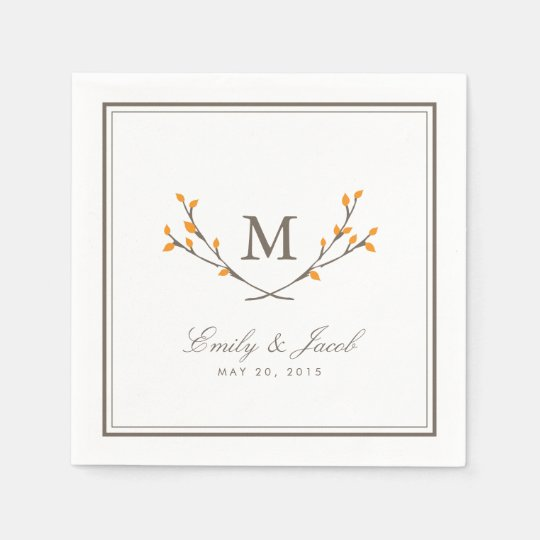 Blissful Branches Wedding Paper Napkins - Orange