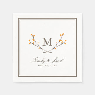 Blissful Branches Wedding Paper Napkins - Orange Disposable Serviette