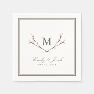 Blissful Branches Wedding Paper Napkins - Pink Paper Napkin
