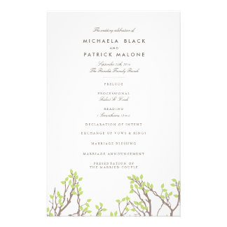 Blissful Branches Wedding Program 14 Cm X 21.5 Cm Flyer