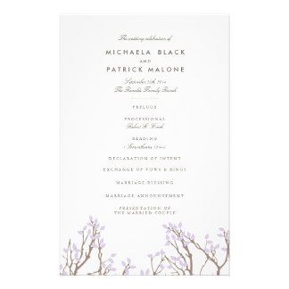 Blissful Branches Wedding Program Flyer