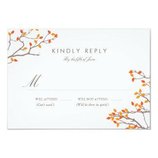Blissful Branches Wedding RSVP 9 Cm X 13 Cm Invitation Card