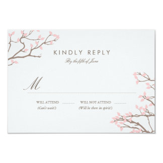 "Blissful Branches Wedding RSVP 3.5"" X 5"" Invitation Card"