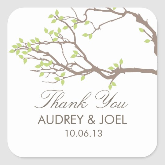 Blissful Branches Wedding Square Sticker