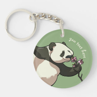 Blissful Panda Smelling Blossom Flowers With Text Double-Sided Round Acrylic Key Ring