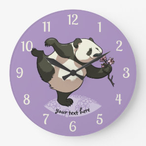 Blissful Panda Smelling Blossom Flowers With Text Large Clock
