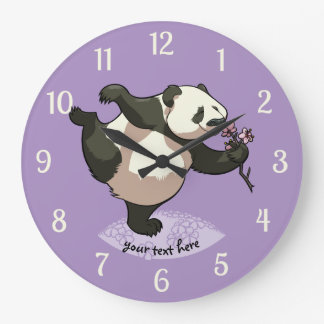 Blissful Panda Smelling Blossom Flowers With Text Wallclocks