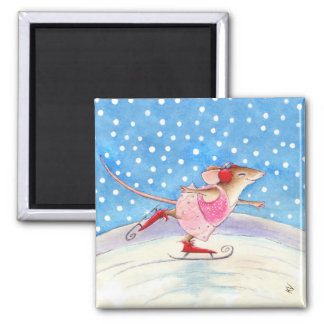 Blissful skating mouse square magnet