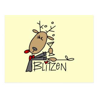 Blitzen Reindeer Christmas Tshirts and Gifts Postcard