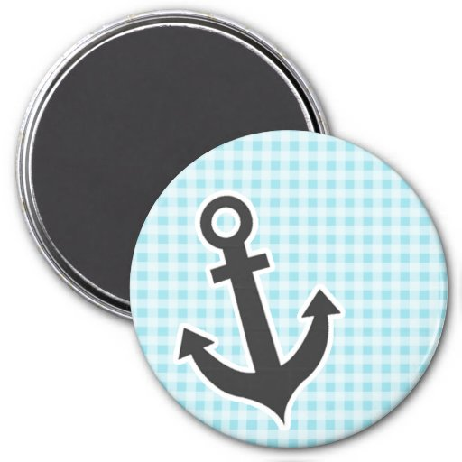 Blizzard Blue Gingham; Anchor Refrigerator Magnet