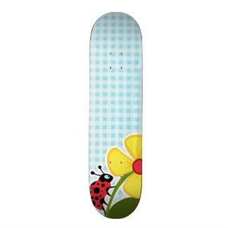 Blizzard Blue Gingham Ladybug Skate Board