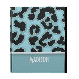 Blizzard Blue Leopard Animal Print; Personalized iPad Folio Cases