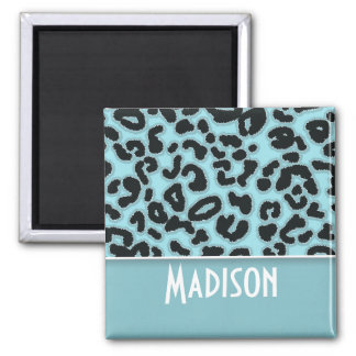 Blizzard Blue Leopard Animal Print; Personalized Square Magnet