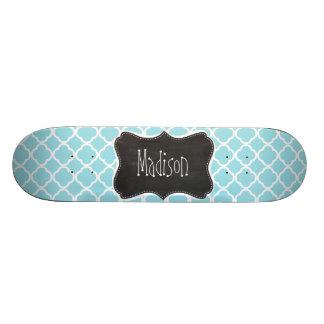 Blizzard Blue Quatrefoil Vintage Chalkboard look Skate Deck