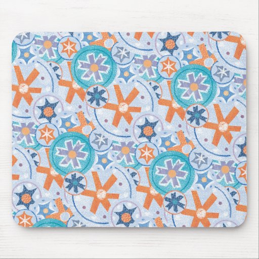 Blizzard Blue Snowflakes Winter Christmas Holiday Mousepads