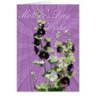 Blk Hollyhock Mother's day-customise any occasion Card
