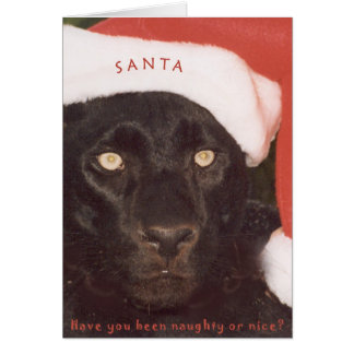 Blk Leopard Santa Greeting Card