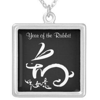 blk / wht 2011 Year of the Rabbit Chinese New Year Silver Plated Necklace
