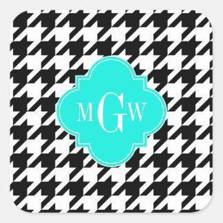 Blk Wht Houndstooth Aqua Quatrefoil 3 Monogram Square Sticker