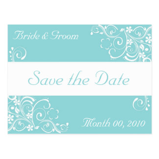 Bllue and White Save the Date Postcards