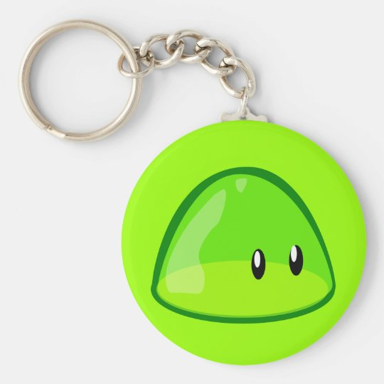 blob-161097 LIGHT GREEN CUTE CARTOON ALIEN blob, g Basic Round Button Key Ring