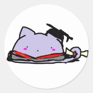 Blobcat graduation round sticker