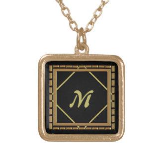 Block Diamond Gold Monogram Necklace