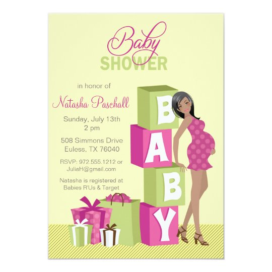Block Girl Baby Shower Invitation African American
