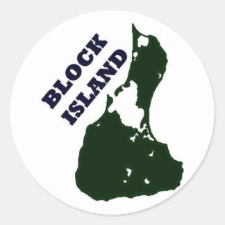 Block Island Diagonal Text Round Stickers