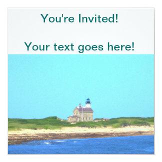 """Block Island North Light 5.25"""" Square Invitation Card"""