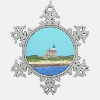 Block Island North Light Snowflake Pewter Christmas Ornament