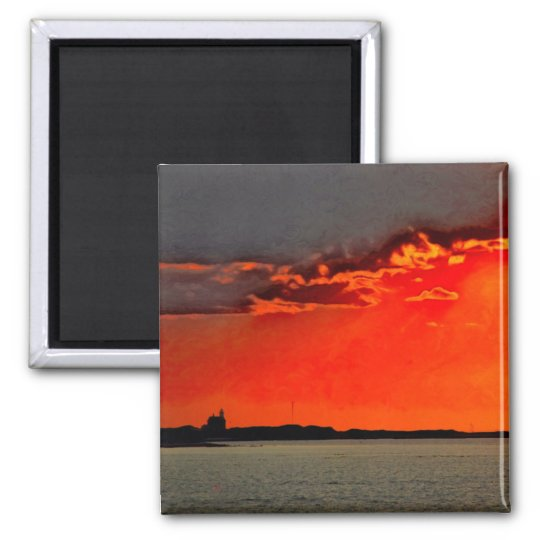 Block Island North Lighthouse at Sunset Painting Square Magnet