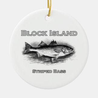 Block Island Vintage Striped Bass Logo Christmas Ornament