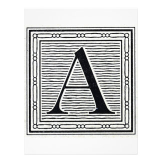 Block Letter A Woodcut Woodblock Initial Personalized Flyer