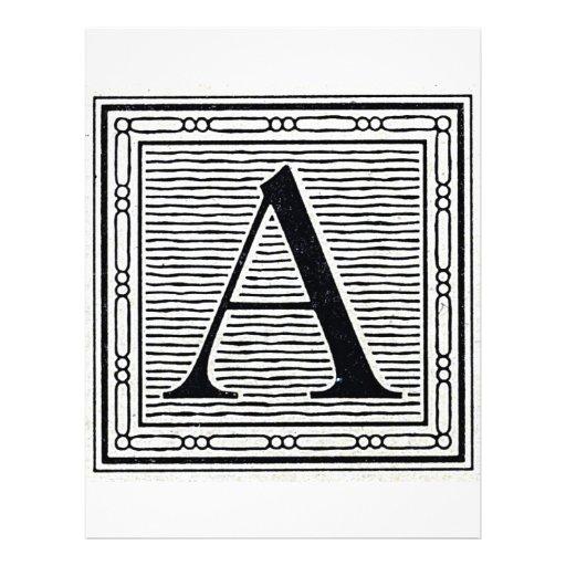 "Block Letter ""A"" Woodcut Woodblock Initial Flyer"