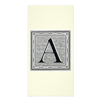 "Block Letter ""A"" Woodcut Woodblock Initial Photo Card"