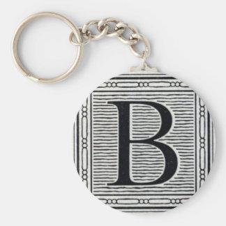 "Block Letter ""B"" Woodcut Woodblock Inital Basic Round Button Key Ring"