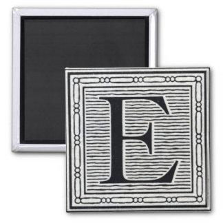 Block Letter E Woodcut Woodblock Inital Magnet